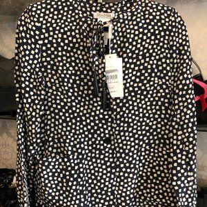 MAX MARA Black & White Long Sleeve Silk Blouse